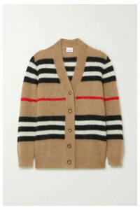 Burberry - Striped Mohair-blend Cardigan - Beige