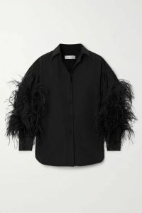Valentino - Feather-trimmed Cotton-blend Poplin Blouse - Black