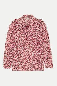 MUNTHE - Tie-neck Ruffled Leopard-print Crepe De Chine Blouse - Red