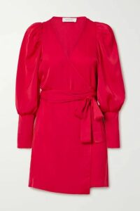 Rhode - Frankie Crepe De Chine Wrap Mini Dress - Red