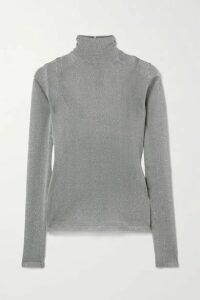Max Mara - Pietra Metallic Stretch-knit Turtleneck Sweater - Dark gray