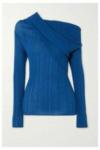 Nina Ricci - Off-the-shoulder Draped Cotton-blend Crepon Top - Blue