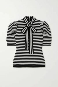 Michael Kors Collection - Pussy-bow Striped Cashmere-blend Top - Black