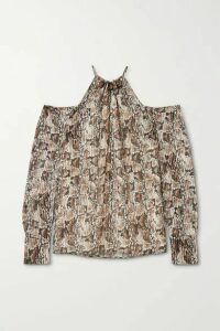 Altuzarra - Elijah Cold-shoulder Bead-embellished Snake-print Silk-blend Blouse - Ivory