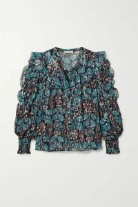Ulla Johnson - Isadora Ruffled Floral-print Fil Coupé Silk And Lurex-blend Georgette Blouse - Blue