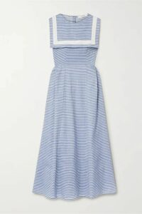 Marysia - Samos Striped Cotton-blend Poplin Dress - Blue