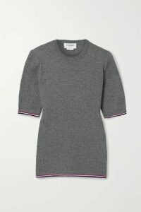 Thom Browne - Grosgrain-trimmed Ribbed Wool-blend T-shirt - Gray