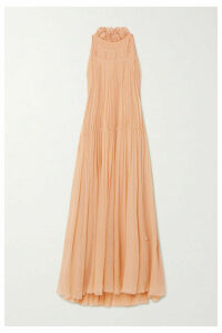Chloé - Embroidered Silk-crepon Maxi Dress - Pink