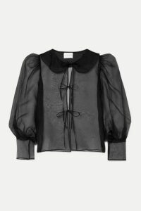 MaisonCléo - Emilie Tie-detailed Silk-organza Blouse - Black