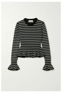 Michael Kors Collection - Striped Cashmere Peplum Top - Black