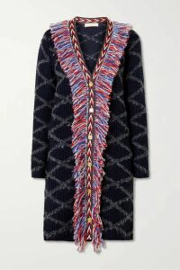 Tory Burch - Grosgrain-trimmed Fringed Intarsia Wool-blend Cardigan - Navy