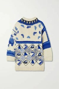 Loewe - Oversized Embroidered Intarsia Wool-blend Sweater - White