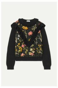 REDValentino - Ruffled Floral-embroidered Cotton Sweater - Black