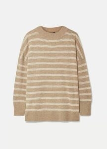 HATCH - The Clementine Oversized Striped Merino Wool Sweater - Camel