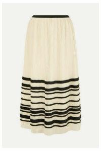 REDValentino - Pleated Striped Tulle Midi Skirt - Cream