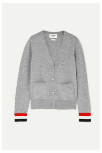 Thom Browne - Striped Grosgrain-trimmed Wool Cardigan - Gray