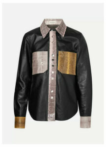By Malene Birger - Estasa Watersnake-trimmed Leather Shirt - Black
