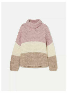 APIECE APART - Convertible Striped Ribbed Alpaca-blend Sweater - Pink