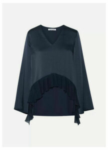 Elizabeth and James - Heath Ribbed Knit-trimmed Satin-crepe Blouse - Midnight blue