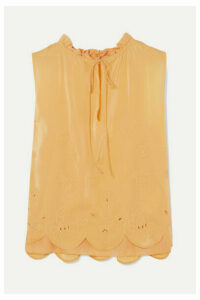 See By Chloé - Scalloped Embroidered Voile Top - Yellow