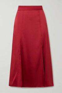 Stine Goya - Jada Satin Midi Skirt - Crimson
