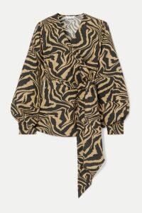 GANNI - Tiger-print Cotton-poplin Wrap Blouse - Sand