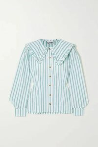 GANNI - Feathery Striped Cotton-poplin Blouse - Ivory