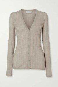 Gabriela Hearst - Homer Ribbed Pointelle-knit Cashmere And Silk-blend Cardigan - Taupe