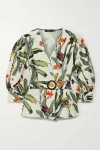 PatBO - Belted Printed Voile Blouse - Ecru