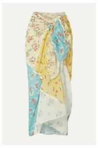 LoveShackFancy - Noa Patchwork Cotton-gauze Pareo - Pastel yellow