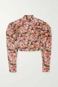 ROTATE Birger Christensen - Kim Cropped Floral-print Woven Top - Blush