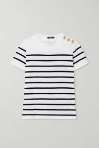 Balmain - Flocked Striped Cotton T-shirt - White
