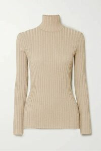 Victoria, Victoria Beckham - Metallic Ribbed-knit Turtleneck Sweater - Gold