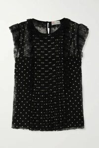 REDValentino - Ruffled Glittered Polka-dot Lace Top - Black