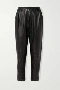 Nili Lotan - Montana Pleated Leather Tapered Pants - Black