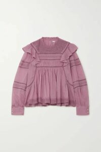 Isabel Marant Étoile - Viviana Crocheted Lace-trimmed Ruffled Cotton-voile Blouse - Pink