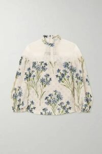 REDValentino - Lace-trimmed Point D'esprit Tulle And Floral-print Silk Blouse - Beige