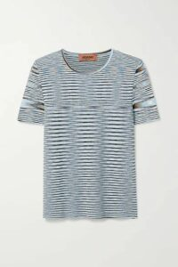 Missoni - Striped Crochet-knit Cotton Top - Light blue