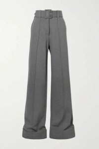 Victoria, Victoria Beckham - Belted Jersey Wide-leg Pants - Gray