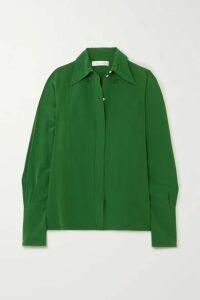 Victoria Beckham - Cutout Silk Crepe De Chine Blouse - Emerald