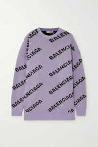 Balenciaga - Intarsia Wool-blend Sweater - Lilac