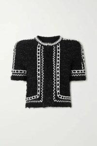 Balmain - Cropped Embroidered Metallic Tweed Jacket - Black