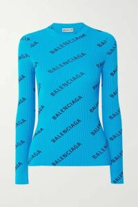 Balenciaga - Printed Ribbed-knit Top - Blue