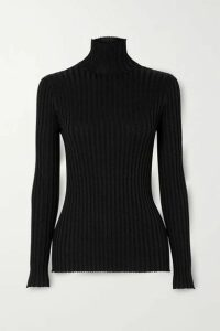 Victoria, Victoria Beckham - Glittered Ribbed-knit Turtleneck Sweater - Black