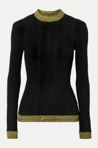 GANNI - Two-tone Ribbed Cotton-blend Sweater - Black