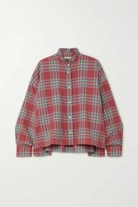 Isabel Marant Étoile - Ilaria Oversized Ruffled Checked Cotton-flannel Shirt - Red