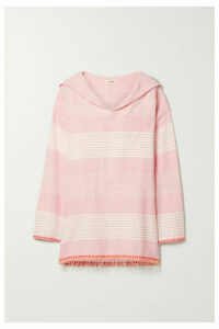 LemLem - Rekik Hooded Frayed Striped Cotton-gauze Top - Baby pink