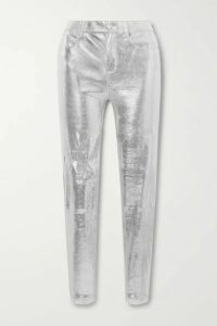 RtA - Kiki Metallic Snake-effect Leather Skinny Pants - Silver
