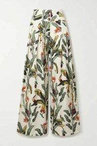 PatBO - Printed Voile Wide-leg Pants - Off-white