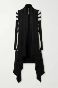Rick Owens - Striped Draped Wool Cardigan - Black